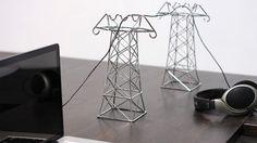 Miniature transmission towers by Daniel Ballou.