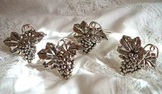 Set 4 Napkin GRAPES Holders SPARKLING Silver Color by FranciesFare