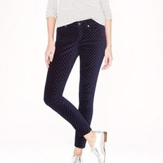 NWT J.Crew Toothpick Jean in Velvet Dot Adorable navy toothpick velvet dot jeans are 99% cotton and 1% spandex for a hint of stretch. Sits lower on the hips and fitted throughout. 28inch inseam. (From website) Numeric size (us): 12 Natural waist: 31.5. Sold out on jcrew.com. NWT. Perfect for fall! ALWAYS ship out day of or next day Feel free to ask me any questions J. Crew Pants