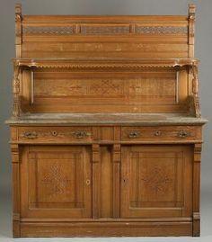 Victorian Eastlake Marble Top 1885 Antique Walnut Chest or Dresser