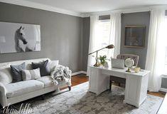 Cozy Home Office, Home Office Space, Home Office Design, Home Office Furniture, Home Office Decor, Home Decor, Office With Couch, Office Sofa, Office Decorations
