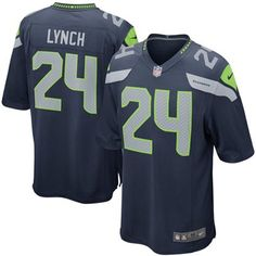 Mens Seattle Seahawks Marshawn Lynch Nike College Navy Game Jersey