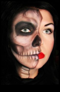 Half beauty makeup, half skull makeup. Skull done entirely with eyeshadows..
