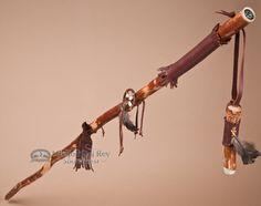 "Tigua Walking Stick & Whistle Medicine Staff 54"""" -Brown (ws1)"