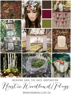 Rustic Wood & Flags Save the Dates Inspiration Board by the MonogramGallery.ca Pin to your #woodland #forest #wedding inspiration boards! http://www.monogramgallery.ca/rustic-wood-flags-save-the-dates/