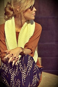 navy skirt + camel top + pale yellow scarf