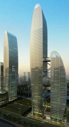 Zhengzhou Eastern Center Tower, former Greenland Center Zhengzhou Towers, Zhengzhou, China by Brininstool, Kerwin, + Lynch Architects :: proposal