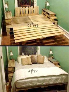 50 Wallpaper Diy Furniture No-Cost King Pallet Bed: Before and After 25 Renown. - 50 Wallpaper Diy Furniture No-Cost King Pallet Bed: Before and After 25 Renowned Pallet - Pallet Furniture Bed, Pallet Bed Frames, Diy Pallet Bed, Wooden Pallet Furniture, Diy Pallet Projects, Furniture Ideas, Pallet Wood, Bed Pallets, Wooden Pallets