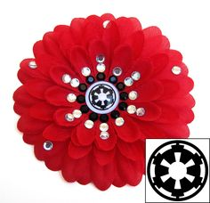 Galactic Empire Red Penny Blossom Sparkly Rhinestone Flower Barrette. $7.50, via Etsy.