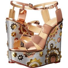Charlotte Olympia Mechanical Merylin (Copper/Silver/Gold Metallic... ($1,325) ❤ liked on Polyvore featuring shoes, sandals, ankle strap platform sandals, open toe sandals, slip on sandals, silver wedge sandals and open toe wedge sandals