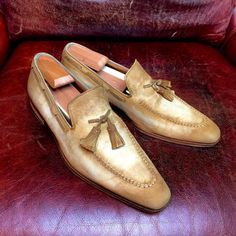 ToBox — Before and After:  Patina work on suede loafers by...