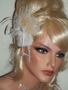 Ivory Peacock feather flower fascinator or bridal by kathyjohnson3, $39.00