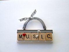 Music Scrabble Tile Ornament by ScrabbleTileOrnament on Etsy