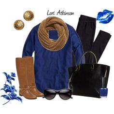 """Blue and Brown"" by Lori Atkinson on Polyvore"