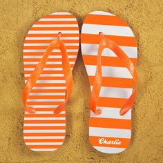 Shop Now!  http://www.blueponystyle.com/products/striped-personalised-flip-flops-in-orange?utm_campaign=social_autopilot&utm_source=pin&utm_medium=pin   #etsymntt #EtsySocial #ESLiving #ebay #ATSocialUK #EpicOnEtsy #etsyretwt #gift #xmas #shopifypicks
