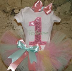 First birthday Princess tutu outfit Light Pink Sparkle Theme Custom Boutique monogrammed  tutu outfit 1st,2nd,3rd,4th,5th birthday tutu set