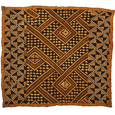 Africa |  Kuba cloth made from woven raffia woven