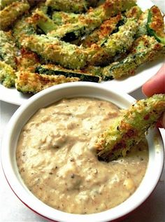 Baked Zucchini Sticks and Sweet Onion Dip ~ Here's a guilt-free way to enjoy the crunchy outside (and juicy inside) of a restaurant-style zucchini stick.