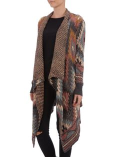 REVIEW Cardigan mit Ethnomuster in Anthrazit meliert | FASHION ID Online Shop