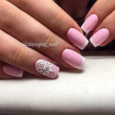 Beautiful summer french nails, French manicure ideas 2016, French manicure with pattern, Pink dress nails, ring finger nails, Summer french nails, White French nails