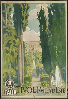 Tivoli Italia Villa d'Este ~ Vintage Italy Travel Poster by TheVintageVamp Vintage Italian Posters, Vintage Travel Posters, Poster Pictures, Print Pictures, Travel Ads, Travel Photos, Poster S, Poster Prints, Tivoli Villa D'este