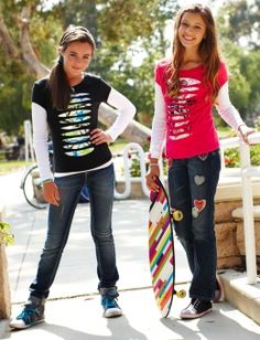 Justice is your one-stop-shop for the cutest & most on-trend styles in tween girls' clothing. Shop Justice for the best tween fashions in a variety of sizes. Girls Fashion Clothes, Tween Fashion, Girl Outfits, Ripped Shirts, Shop Justice, Tween Girls, Long Sleeve Tees, Sewing, How To Wear