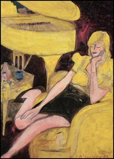 Yellow Linda with Piano, by Paul McCartney. That stool in the painting? Yeah it belonged to Magritte. !!!