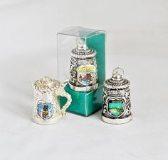 3 x Vintage Thimbles / Lot of 3 Metal Thimbles / Vintage German Thimbles