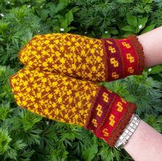 hand knitted yellow brown wool mittens by peonijahandmadeshop, $43.50