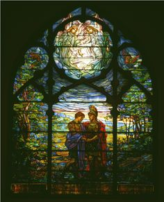 """""""David and Jonathan"""" created in the Tiffany style by Robert L. Stained Glass Church, Stained Glass Paint, Custom Stained Glass, Stained Glass Windows, Mosaic Art, Mosaic Glass, Glass Art, David And Jonathan, Our Lady"""