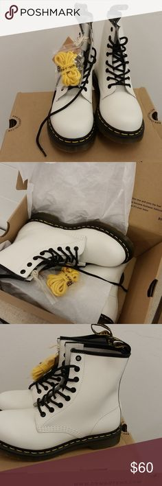 Dr. Marten's 8 Eye Boot Women's White Smooth SZ 7 New in orignal box  Never worn   Dr. Marten's 8 Eye Women's White smooth Boot  UK SZ 6  US SZ 7 Dr. Martens Shoes Ankle Boots & Booties