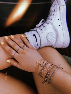 white high top converser and nike socks. Visit Daily Dress Me at dailydressme.com for more inspiration           women's fashion 2018, summer fashion, shoes, sneakers, nike, converse, white shoes