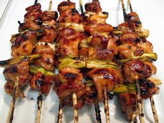 Recipe for Japanese Grilled Chicken Yakitori - Yakitori is a simple and DELICIOUS Japanese street food of grilled chicken, served either shio-style (with salt), or tare-style (with a mirin/sake/soy/sugar sauce). Typically, yakitori is made from bite-sized Japanese Street Food, Japanese Food, Japanese Chicken, Tandori Chicken, Grilling Recipes, Cooking Recipes, Cooking Ideas, Asian Recipes, Healthy Recipes