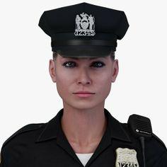 3d obj police officer - Police Officer White Female... by PeartVision