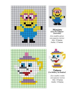 Minion and Disney Teapot (Beauty and the Beast) hama perler beads pattern