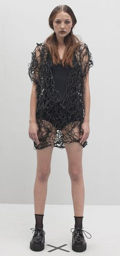 SALASAI, SS11 FLUORESCENT ADOLESCENCE LACE ME UP DRESS: you are leather, you are love.