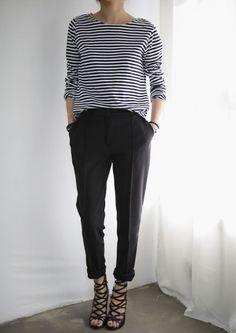 Minimal + Chic. Need a striped shirt!