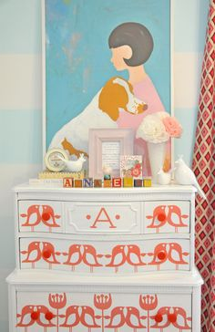 How adorable is this stenciled dresser? Adds character to the room! #pink #baby #nursery