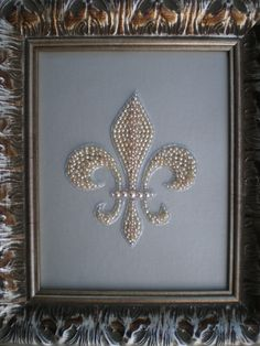 Beaded Fleur De Lis Art. $100.00, via Etsy. I could make this. In fact, I have all the materials.