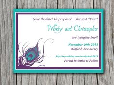 Peacock Save the Date, Bridal Shower Invitation, Wedding Invite Microsoft Word Template | Purple Turquoise Blue Peacock Feather by PaintTheDayDesigns on Etsy, $8.00