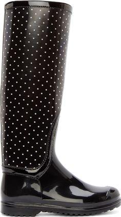 Dolce & Gabbana Black & White Polka Dot Rain Boots