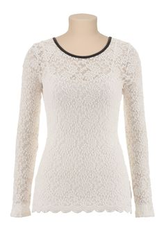 Long Sleeve Faux Leather Trim Lace Top