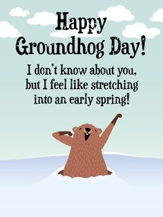 Send Free Cute Stretch - Happy Groundhog Day to Loved Ones on Birthday & Greeting Cards by Davia. It's free, and you also can use your own customized birthday calendar and birthday reminders.