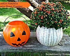 $1 Plastic Pumpkin Planter