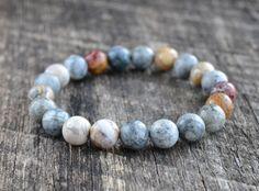 Bracelet de jaspe oeil 8mm ciel Bracelet de pierres par amariesshop
