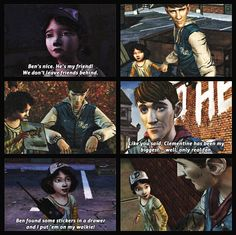 Ben Paul's and Clementine's relationship all during twdg Season 1 | Ben & Clem, The Walking Dead (Tellatale Game)