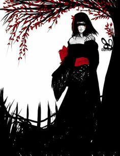 What goes best with black and white? Geisha, Black And White Art Drawing, Blue Anime, Horror Monsters, Turning Japanese, Zodiac Art, Art For Art Sake, Black White Red, Fantasy Girl