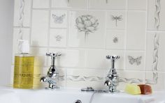 Contemporary Classics - Hand Made Wall Tiles - Marlborough Tiles (bee & ladybug only) English Heritage, Wall Tiles, Ladybug, Bathrooms, Shabby Chic, Bee, Stones, Contemporary