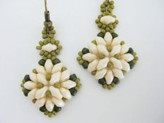 Superduo Earrings Beadwork Olive Green Champagne by MadeByKatarina