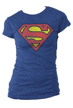 Superman Distressed Logo Juniors T-Shirt (Large)